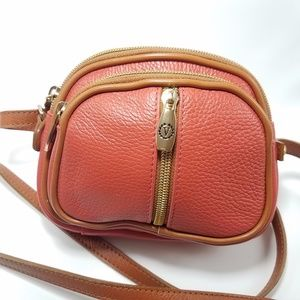 Valentina Italian Leather Cross Body Bag Orange